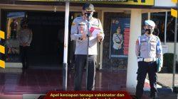 Kepala Kepolisian Resor (Kapolres) Lahat, AKBP Ahmad Gusti Hartono SIK pimpin apel kesiapan tenaga Vaksinator dan Tracer COVID-19 di lapangan Mapolres Lahat.
