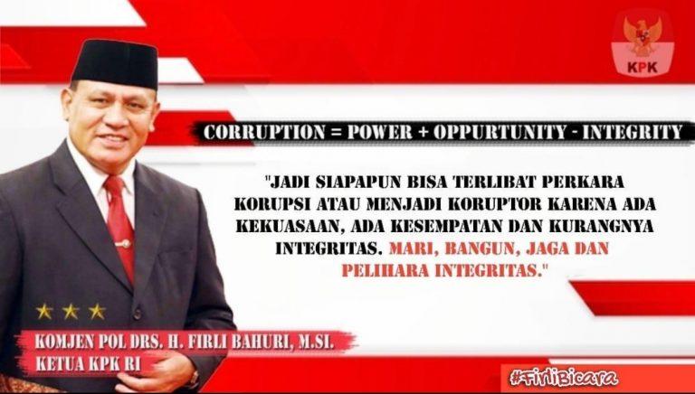 Komjen Pol Drs H Firli Bahuri MSi selaku Ketua KPK