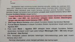 Surat BMKG Stasiun Klimatologi Kelas 1 Palembang