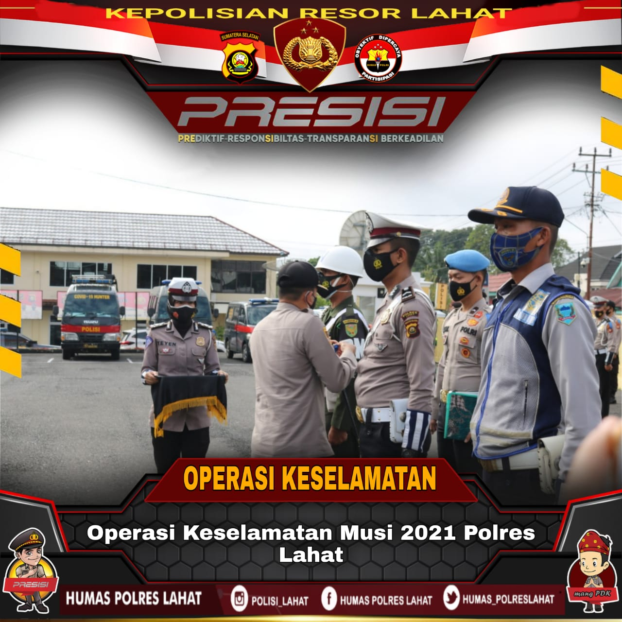 Kapolres Lahat AKBP Ahmad Gusti Hartono SIK memimpin Apel Pasukan Operasi Keselamatan Musi 2021 di lapangan Mapolres Lahat, Sumatera Selatan, Senin (12/4/2021).