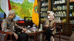 Staf Khusus Presiden Angkie Yudistia melakukan pertemuan dengan Gubernur Jateng Ganjar Pranowo, di Kantor Gubernur Jateng, Semarang, Rabu (02/06)
