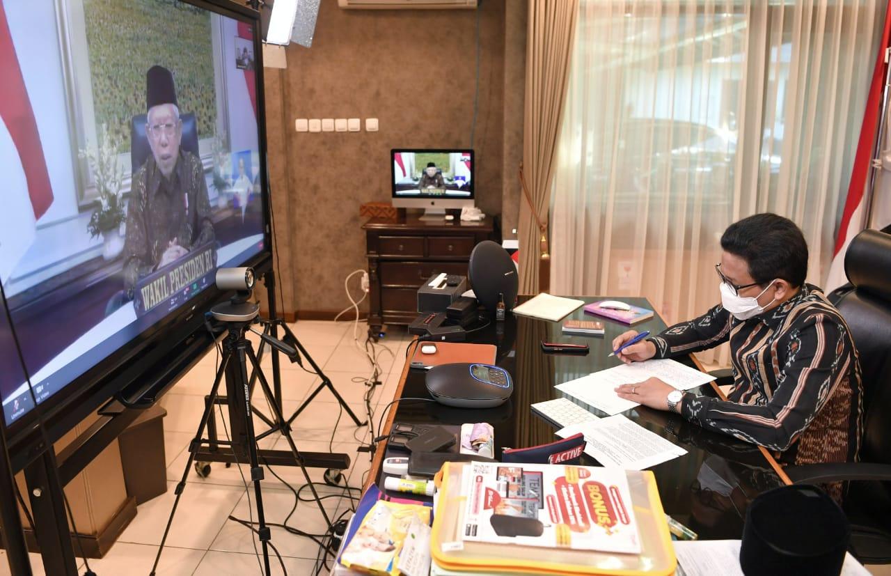 Wakil Presiden Indonesia Ma'ruf Amin membuka Acara Puncak Bangga Buatan Indonesia Kilau Digital Permata Flobamora melalui virtual. Jakarta, Jumat (18/6)