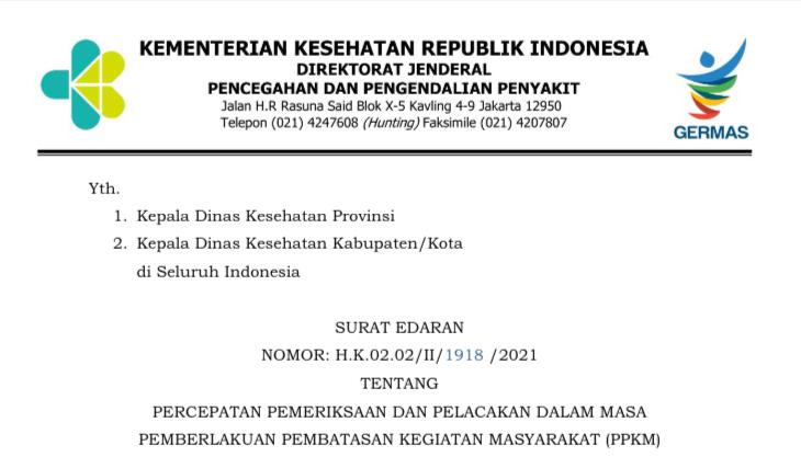 Surat Edaran Nomor : H.K.02.02/II/1918 /2021 tentang Percepatan Pemeriksaan dan Pelacakan Dalam Masa Pemberlakuan Pembatasan Kegiatan Masyarakat (PPKM)