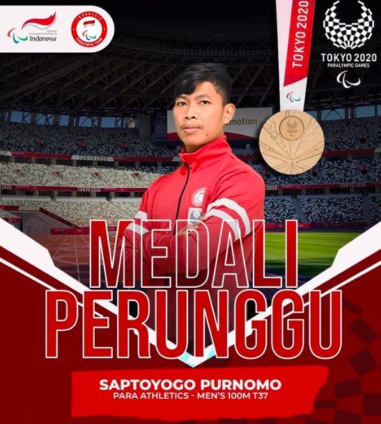 Sprinter Indonesia Sapto Yogo Purnomo berhasil meraih medali perunggu pada Paralimpiade Tokyo 2020, Jumat (27/8) sore (sumber foto: NPC Indonesia)