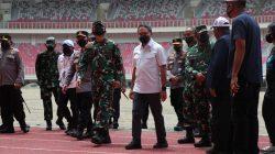 Menpora RI Zainudin Amali meninjau Stadion Lukas Enembe menjelang pelaksanaan Pekan Olahraga Nasional (PON) Papua. Peninjauan dilakukan bersama Panglima TNI Marsekal Hadi Tjahjanto dan Kapolri Jenderal Listyo Sigit Prabowo