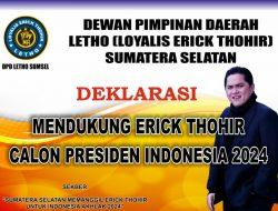 Letho Sumsel Deklarasikan Erick Thohir Capres 2024
