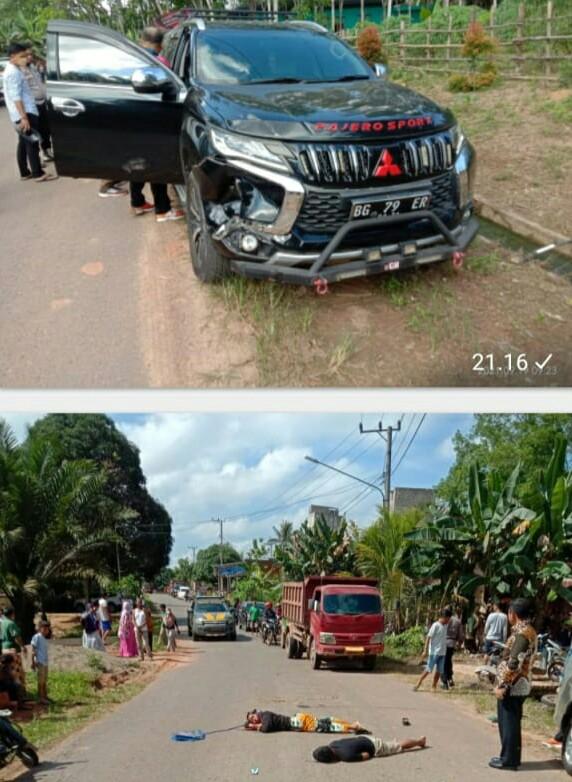 Mobil mewah Pajero Sport, Oknum Kadis PMD Musi Banyuasin bernomor polisi BG 79 ER yang dikendarai FF menghantam pengendara motor, satu tewas dua orang lainnya luka berat.