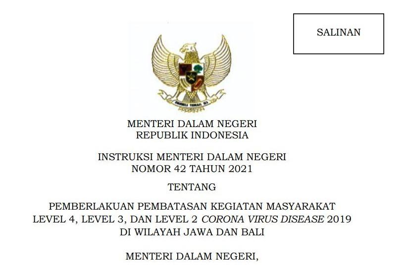 Instruksi Mendagri Nomor 42 Tahun 2021