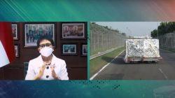 Menteri Luar Negeri (Menlu) RI, Retno LP Marsudi, dalam keterangan pers menyambut kedatangan vaksin AstraZeneca