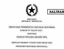 Breaking News: PP 94/2021 tentang Disiplin PNS Diterbitkan