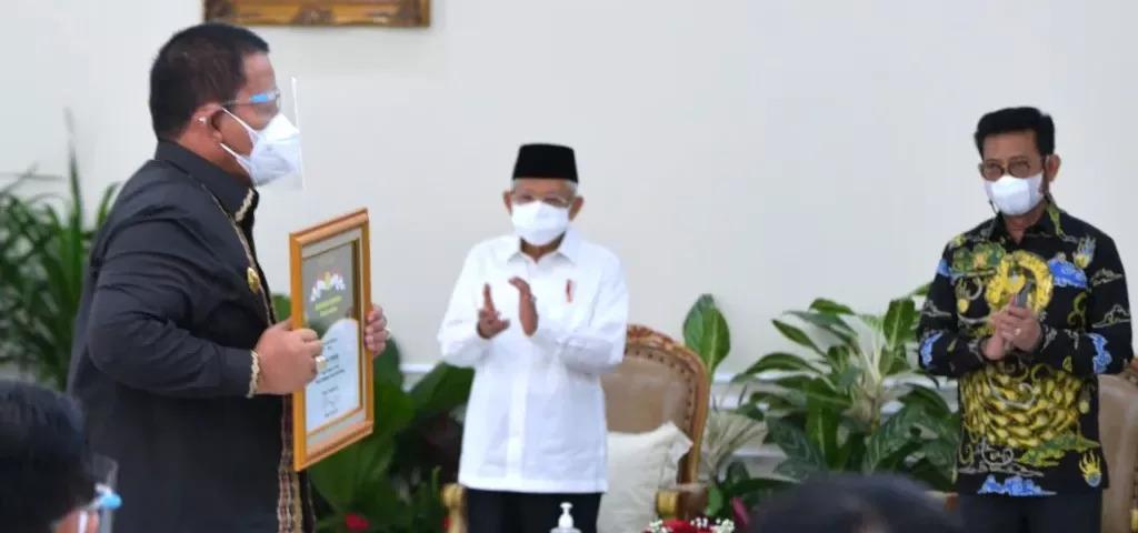 Wakil Presiden (Wapres) RI, Ma'ruf Amin pada acara Penganugerahan Penghargaan Bidang Pertanian Tahun 2021 yang digelar di Istana Wapres, Jakarta, Senin (13/09)