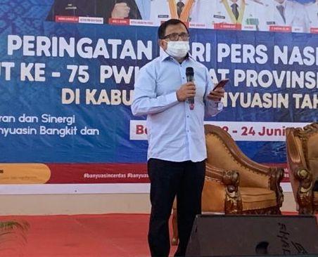 Hendry Ch Bangun saat Peringatan HPN XLVII dan HUT ke-75 PWI tingkat Provinsi Sumsel di Kabupaten Banyuasin, Kamis (24/6)