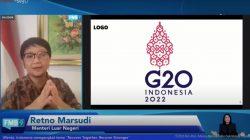 Menlu Retno LP Marsudi dalam Keterangan Pers Bersama mengenai Presidensi Indonesia di G20 Tahun 2022, Selasa (14/09/2021). (Sumber: Tangkapan Layar YouTube Sekretariat Presiden)