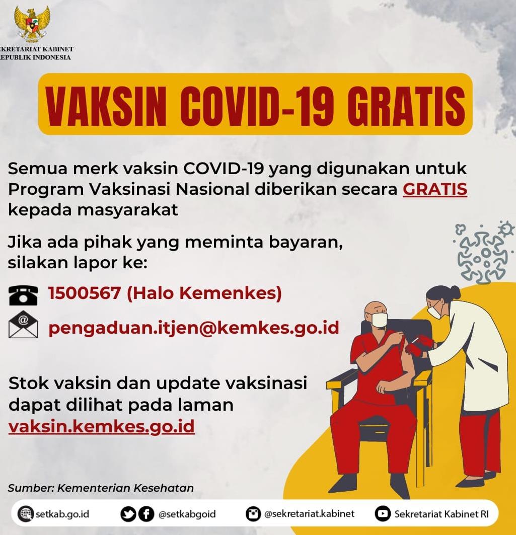 Vaksinasi COVID-19 GRATIS, Sumber Photo: Setkab