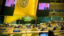 Presiden Joko Widodo dalam pidatonya pada sesi debat umum Sidang Majelis Umum ke-76 PBB, Kamis [23/09/2021] pagi WIB. [Foto: Humas Kemlu]