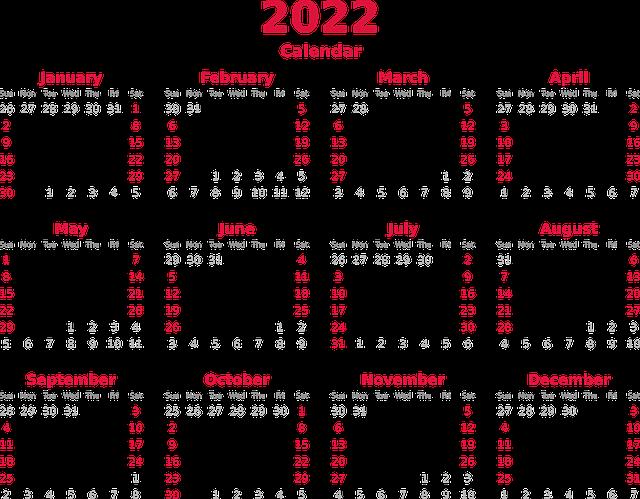 Kalender tahun 2022 terbaru [Gamabar Ist]