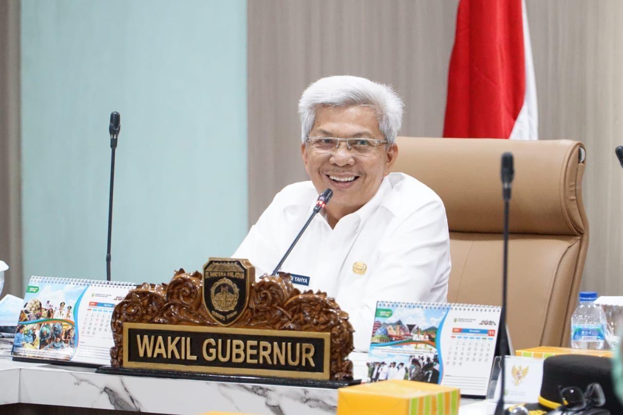 Wakil Gubernur Sumsel H Mawardi Yahya saat memimpin rapat persiapan penyelenggaraan Sriwjaya Ranau Grand Fondo Tahun 2021 bertempat di Bina Praja Pemprov Sumsel, Selasa [12/10]