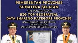 """Pemprov Sumsel Raih Penghargaan """"Big Top Geospasial"""""""