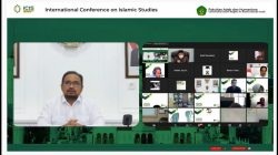 Menteri Agama Yaqut Cholil Qoumas saat menyampaikan Keynote Speech dalam International Conference on Islamic Studies (ICIS) Tahun 2021 yang digelar UIN Ar-Raniry Aceh