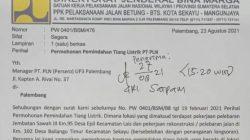 Surat Permohonan Pemindahan Tiang Listrik yang ditujukan ke PLN UIWS2JB