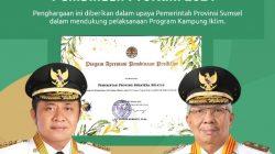 Pemprov Sumsel Raih Penghargaan Proklim 2021